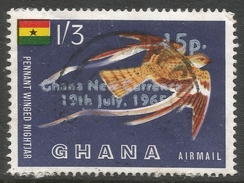 Ghana. 1965 New Currency O/P. Air. 15p On 1/3 Used. SG 392 - Ghana (1957-...)