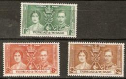 Trinidad & Tobago 1937 SG 243-5 Coronation  Mounted Mint - Trinidad & Tobago (...-1961)