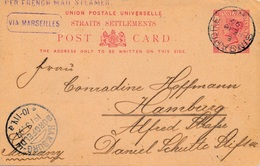 Singapore Entier Postal 3 Cents Via Marseille Pour L'Allemagne - Chine