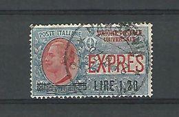1921  N° 7  TIMBRE DE 1908 SURCHARGE LIRE 1.20 OBLITERE 21.6.23 - 6. 1946-.. Republic