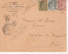 Lettre Recommandée 1904 Avec Cachet Bureau Recette Aux.de Grenoble Pour Paris. - France