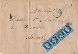 Lettre N°14 Bande De 4 Ille Et Vilaine - 1849-1876: Classic Period