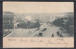 """Polen 1901 Fotokarte  """"Warszawa Nowy-Zjazd """" Mit 4 Kop-Marke Russland Nach Wien - Polonia"""