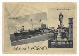 SALUTI DA LIVORNO - BARRIERA DEL PORTO E MONUM. DEI QUATTRO MORI 1942 VIAGGIATA  FG - Livorno
