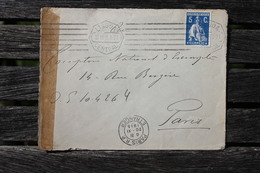 Enveloppe Affranchie Portugal Pour Paris 1915 Censure Autorité Militaire - 1910-... Republic