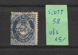 NORVEGE NORGE NORUEGA NORWAY SCOTT NR. 58 OBLITERE AVEC CERTIFICATION D'EXPERT SEBASTIAN GRUNBERG AU DOS - Used Stamps