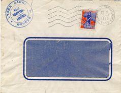 MARIANNE à La NEF 1234/ Lettre Cachet ASNIERES  Et  Cachet LYCEE CARNOT D' ASNIERES - Annullamenti Meccanici (pubblicitari)