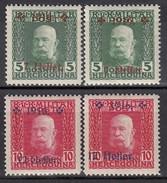 ÖSTERREICH Bosnien&Herzegowina 1916 - MiNr: 95 I+II - 96 I+II    * / MLH - Oriente Austriaco