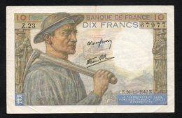 Banconota 10 Franchi Francesi 26/11/1942 - 1955-1959 Sovraccarichi In Nuovi Franchi