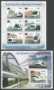 COMORO 2008 TRAINS RAILWAYS OF CHINA BRIDGES SHEETLET & M/SHEET MNH - Comoros