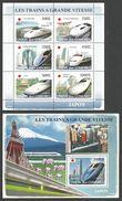 COMORO 2008 TRAINS RAILWAYS OF JAPAN BRIDGES SHEETLET VOLCANO & M/SHEET MNH - Comoros