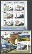 COMORO 2008 TRAINS RAILWAYS OF FRANCE AIRCRAFT CONCORDE SHEETLET & M/SHEET MNH - Comoros