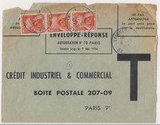 Enveloppe Réponse CIC, Utilisée Après La Date De Validité Et Taxée à 30 Frs - 1956 - Taxes
