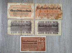 Notgeldscheine Lot 5 Scheine 100 Tausend Bis 500 Millionen Mark Bottrop Gladbeck Osterfeld 1923 - [11] Emissioni Locali