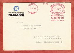 Brief, Absenderfreistempel Schokolade Mauxion Saalfeld, Nach Schwerin 1932 (40754) - Deutschland