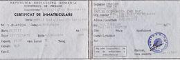 "Romania, 1989, Vehicle Registration Certificate - ""OLTCIT"" - Documentos Históricos"