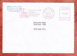 Brief, Francotyp-Postalia F81-8972, Tuba, Wenzel Meinl, 100 Pfg, Geretsried 1991 (40758) - Musique