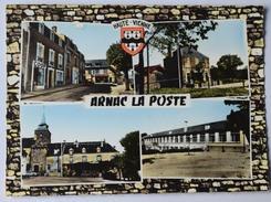 87 : Arnac - CPSM Multivues - Rue Principale - Poste - Groupe Scolaire - Place De L'Eglise - Colorisée  Blason -(n°8804) - Francia