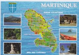 972 - CARTE GEOGRAPHIQUE DE LA MARTINIQUE  BLASON VUES DES VILLES - Martinique