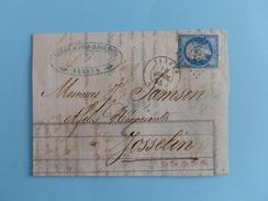 EMPIRE NON DENTELE 14 SUR LETTRE DE VANNES A JOSSELIN DU 16 AVRIL1858 (PETIT CHIFFRE 3484) - Postmark Collection (Covers)