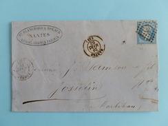 EMPIRE NON DENTELE 14 SUR LETTRE DE NANTES A JOSSELIN DU 29 MARS 1862 (PETIT CHIFFRE 2221) - Postmark Collection (Covers)
