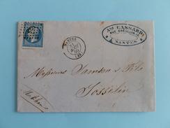 EMPIRE NON DENTELE 14 SUR LETTRE DE NANTES A JOSSELIN DU 31 AOUT 1860 (PETIT CHIFFRE 2221) - Postmark Collection (Covers)