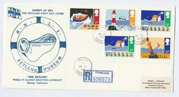 1985 REGISTERED  ZETLAND MUSEUM GB FDC Safety At Sea Stamps Lifeboat Lighthouse Ship  Space Cover Redcar Cleaveland - 1981-1990 Em. Décimales
