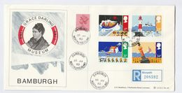 1985 REGISTERED Grace Darling MUSEUM FDC GB SAFETY AT SEA Stamps Lifeboat Lighthouse Ship  Space Cover Bamburgh Cds - 1981-1990 Em. Décimales