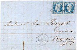 FRANCE 1862 - Pair Of The 20c Napoleon III Type I On Piece - 1862 Napoleon III