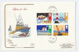 1985 DUNMOW CDS Cotstwold FDC SAFETY AT SEA Stamps Cover Gb  Lifeboat Ship Lighthouse Space Cover - FDC