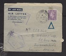 FIELD POST OFFICE 217 13 AU 44 Air Letter > South Africa, RAF CENSOR S 228 & 43 - South Africa (...-1961)