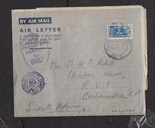 APO-U-MPK 5 25 IX 44 Air Letter > South Africa,,British Censor 5687, EGYPT PREPAID 30 SE 44 Transit - South Africa (...-1961)