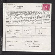 """South Africa George VI, 1941, 5/= Revenue On """"cancellation, Part Payment Release"""" Form - South Africa (...-1961)"""