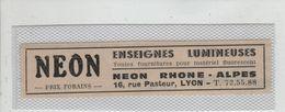 Publicité 1919 Lyon Néon Enseignes Lumineuses Rue Pasteur - Werbung