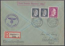 Laibach (Ljubljana), Dt. Dienstpost Adria, Registered Cover, December 43, Provisional Registration Label, Arrival Cancel - Besetzungen 1938-45