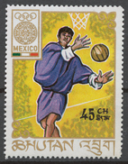 Bhutan 1968 Mi# 234** BASKETBALL, OLYMPIC GAMES, MEXICO 1968 - Bhutan