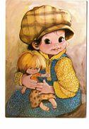 Carte Brodée Fille Fillette Avec Poupée Les Editions Vacances - Embroidered