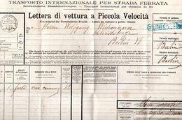 LETTERA DI VETTURA A PICCOLA VELOCITA-STRADA FERATA ITALIANA-1907 ROMA BERLIN-MONTE COMPATRI-COLONNA - Italia