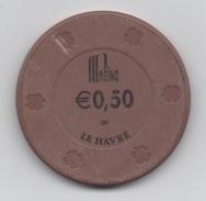 Jeton BG De Casino : Pasino Le Havre €0,50 (Groupe Partouche France) - Un Peu Abîmé - Casino