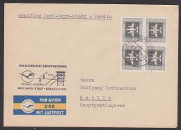 Wismut Bergbau Erstflug Deutsche Lufthansa Karl-Marx-Stadt - Berlin 1958, Cachet Förderturm Abraumhalden Kranich - Covers
