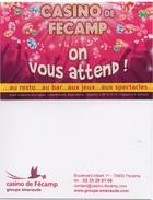Carte De Publicité Casino : Fécamp (Groupe Émeraude) (1 Seul Scan Recto-Verso) - Casino Cards