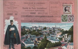"LUXEMBOURG LA VILLE BASSE DU ""GRUND"" ET VILLE HAUTE 1910 / GRUND U. OBERSTADT / MANDAT DE POSTE INTERNATIONAL / FACTEUR - Luxemburg - Stadt"