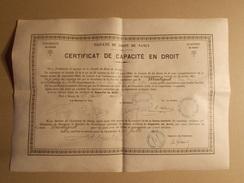 Certificat Capacité En Droit 1900 Sur Parchemin Etat Super - Diplômes & Bulletins Scolaires