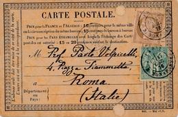 Carte Précurseur Mixte Ceres + Sage Pour Rome 1876 - Postmark Collection (Covers)
