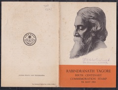INDIA,  1961, BROCHURE WITH INFORMATION, FOLDER, Birth Centenary Of Rabindranath Tagore, Nobel Prize, Poet, Writer, - India