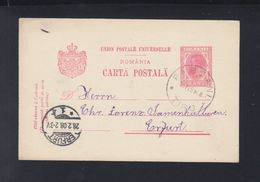 Romania Stationery 1908 Pascani Tirg To Germany - 1881-1918: Carol I.
