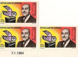 Timbre - Afrique - Sénégal - Professeur Gaston BERGER - 1963 - 3 X 25 F - - Sénégal (1960-...)