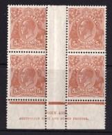 Australia 1932 King George V 5 Chestnut C Of A Wmk Ash Imprint Block Of 4 MNH/MH - 1913-36 George V: Heads