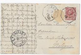 STORIA POSTALE REGNO - ANNULLO OTTAGONALE COLLETTORIA SAIANO(BS) P.1 18.10-1910 Su CARTOLINA D'EPOCA - Marcophilie
