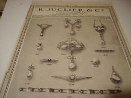 ANCIENNE PUBLICITE  BIJOUX CREATION JUCLIER 1914 - Bijoux & Horlogerie